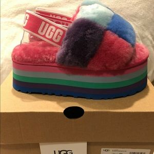 Ugg's disco checker slide (BluexPink colorway)